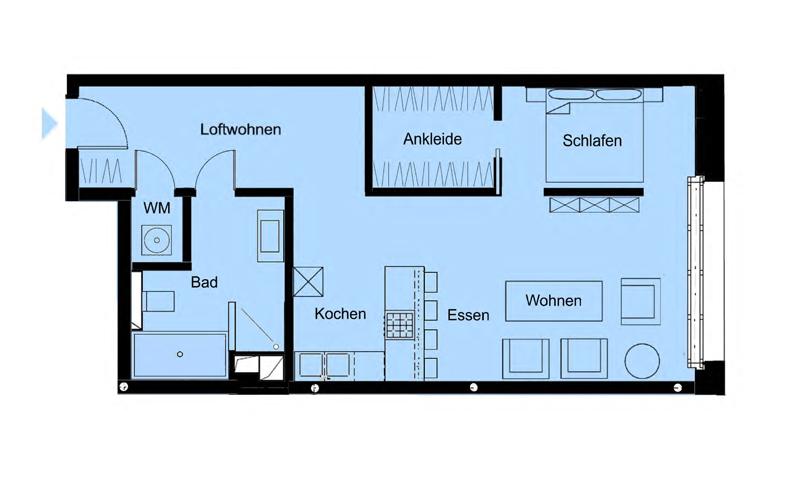 Hermann Immobilien: 1 Zi.-Loft-Wohnung m. gehob. Ausstattung in Frankfurt