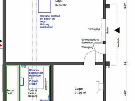 105qm Lagerhalle in Langenau, 4,5m Höhe mit Rolltor in Gewerbegebiet