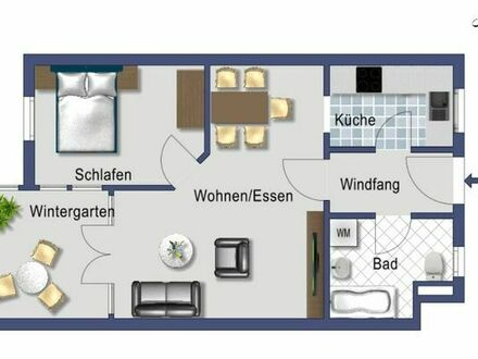 2 Zimmer Wohnung im Zentrum von Magstadt