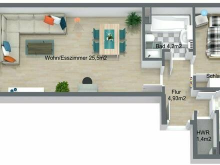 Rostock - Toitenwinkel - 2 Raum Wohnung ETW 1. OG mit großem BalkonLoggia