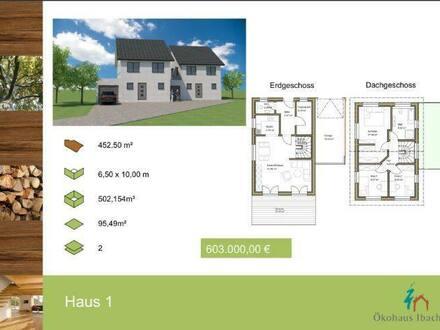 Jestetten - Ökohaus Ibach, Doppelhaus mit 95,49 m² Wohnfläche