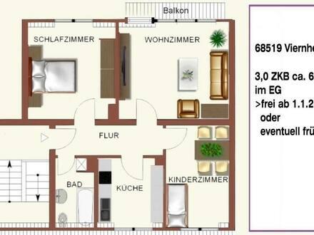 Viernheim - VIERNHEIM 3 ZBK EG Gemütliche Wohnung Zentral Balkon Grüne Garten