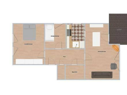 Germering - Modernisierte Wohnung mit zweieinhalb Zimmern sowie Balkon und EBK in Germering