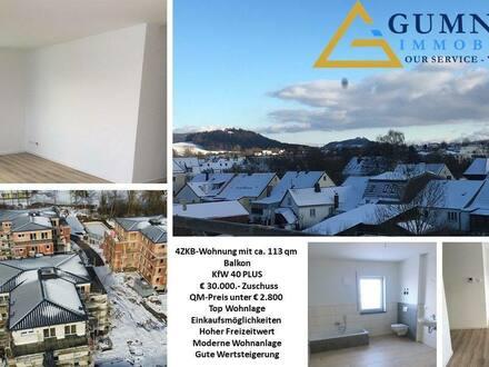 Kemnath - 4ZKB-Balkon-Wohnung**Sehr gute Investition -- QM-Preis rund EUR 2790.-qm ++ 30.000.- Tilgungszuschuss-KfW 40…