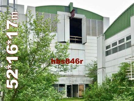 Solide dreigeschoßige Werkhalle 52x16x17m Stahlhalle mit Bogendach aus Rückbau