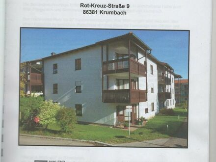 Betreute Senioren 2 Zimmer bezugbar Alter ab 60 Jahre, Krumbach. 45 qm. SW Balkon.