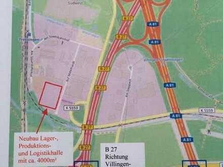 Neubau: Lager-/Produktionshalle (teilbar) mit Büroflächen - direkte Autobahnanbindung A 81