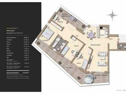 Lichtdurchflutete 5-Zimmer-Wohnung mit hochwertiger Ausstattung und großzügiger Dachterasse