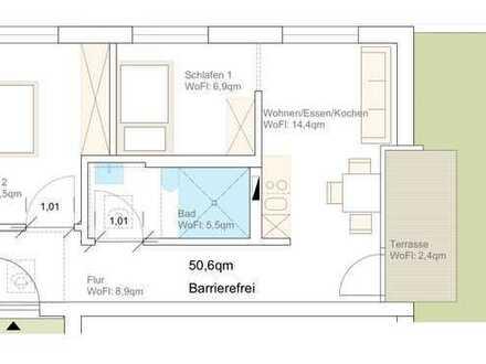 Erstbezug: stilvolle 2,5-Zimmer- Seniorenwohnung mit Einbauküche und Balkon in Rutesheim