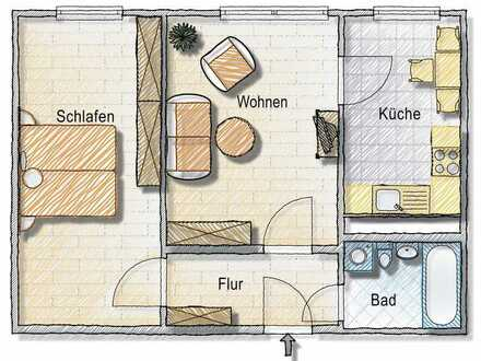 kleine aber feine preiswerte 2-Zimmer-Wohnung