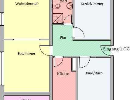 Moderne Wohnung mit Balkon - 83 m², 3,5 Zimmer | Dusche, Badewanne | ruhige Lage - Trapphofstr.