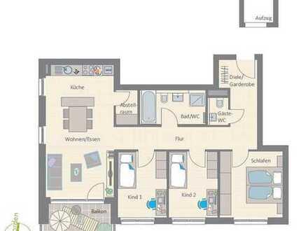 4-Zimmer Neubau-Wohnung mit Südbalkon und Blick auf Wiesen und Felder!