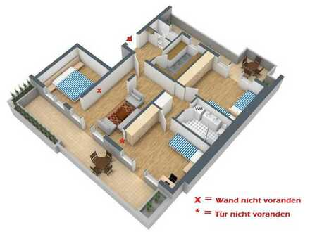 Gepflegte 3,5-Raum-Penthouse-Wohnung mit Balkon und Einbauküche in Remchingen