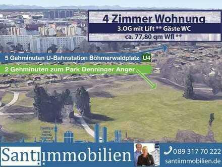 4 Zi. Wohnung, nur 5 Gehmin. zur U-Bahn Böhmerwaldplatz U4