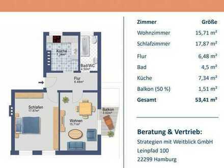 vollständig sanierte 2-Zimmer Wohnung mit Balkon und Küche