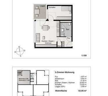 Phantastische 2- Zimmerwohnung im 1. Obergeschoss (Wohnung 8)