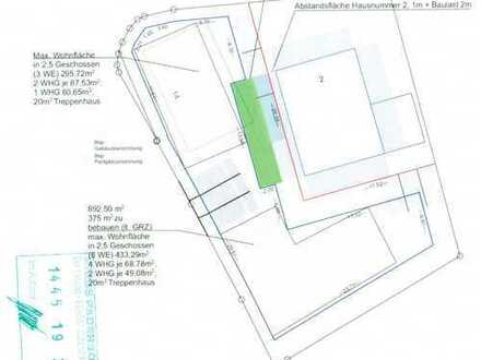 Genehmigte Bauvoranfrage für den Neubau von 2 Mehrfamilienhäuser mit 729 m² Wohnfläche liegt vor!