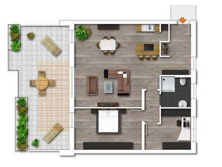 Erstbezug, hochwertig ausgestattete Terrassenwohnung, 3,5 Räume