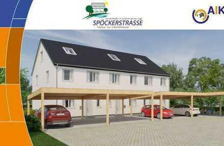 -Verkauft - Reihenendhaus Nr. 3, 134 m² Wfl, Carport, großer Garten ca. 160m², Blick ins Grüne