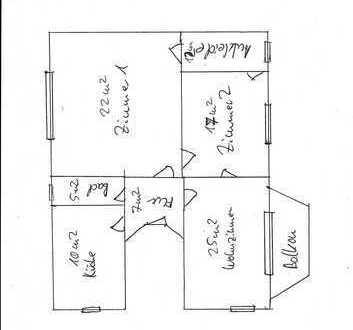 Altbau 4-Zimmer-Wohnung mit Balkon und Einbauküche in Oldenburg, 250m vom Theater entfernt..