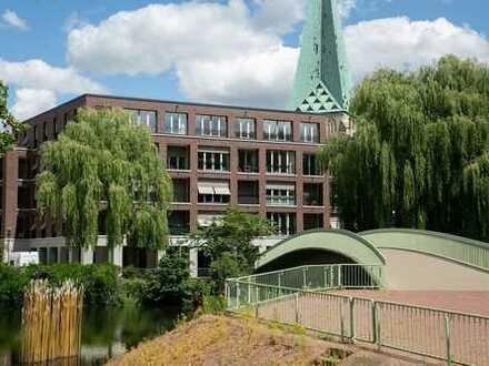 Neu: luxuriös möblierte 2,5-Zimmer-Wohnung mit Dachterrasse, Loggia und Kamin im Herzen von Bocholt