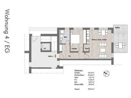 Moderne 2-Zimmerwohnung im Erdgeschoss mit Balkon in Gerolsbach Nähe S2 - Petershausen zu vermieten!