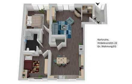 Erstbezug nach vollständiger Sanierung, Helle 3,5 Zimmer Wohnung in Karlsruhe, Durlach
