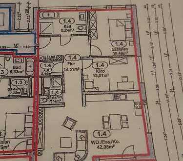Erstbezug: schöne 3-Zimmer-Wohnung mit Einbauküche und Balkon in Pluwig