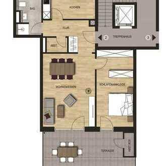 Neubauvorhaben 2 - Zimmer Wohnung mit Terrasse und Gartenanteil