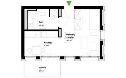 Geschmackvolle Wohnung mit einem Zimmer sowie Balkon und EBK in Esslingen am Neckar