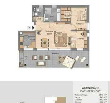 Repräsentative 4-Zimmer-Wohnung im Dachgeschoss mit Terrasse (Whg. 14)
