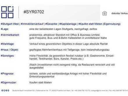 Renditestarke Gewerbeeinheit (Gastronomie) in frequentierter Lage des Stuttgarter Westen!
