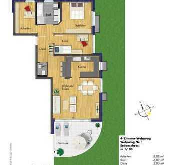 Stilvolle 4-Zimmerwohnung im Erdgeschoss (Haus 1 Whg. 1 )