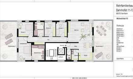 ROHBAU FERTIG!Exklusives 210m² großes Penthouse mit zwei tollen Terrassen!Top Ausstattung Ihrer Wahl