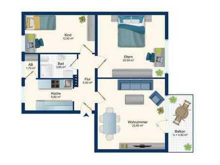 Kaufen, einziehen und glücklich sein! Gepflegte 3-Zimmerwohnung zur Eigennutzung oder Kapitalanlage.