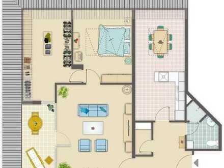 Attraktive Wohnung mit Loggia und Rheinblick