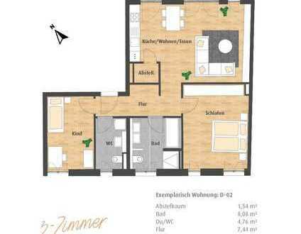 Neubau-Erstbezug 3-Zimmer-Wohnung mit Terrasse und Gartenanteil im Hatz-Areal