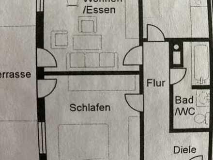 Exklusive, modernisierte 2-Zimmer-Terrassenwohnung mit Balkon und Einbauküche in Salach