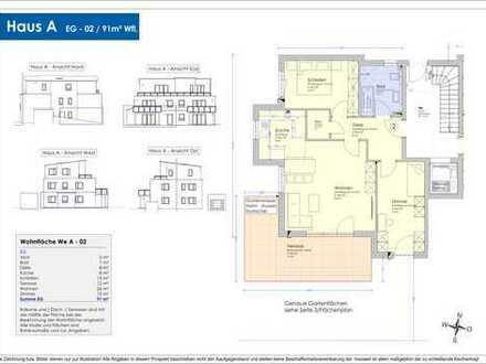 Neubau - 91m² Erdgeschosswohnung mit großer Südterrasse und Garten (A-02)