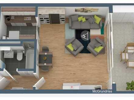 1-Zimmer-Wohnung mit Balkon und Einbauküche in Ludwigshafen am Rhein