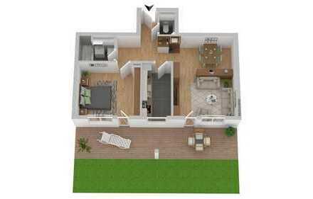 Schöne Leerwohnung: 2 Zimmer Wohnung Stauffenbergring 9 mit Gartenanteil