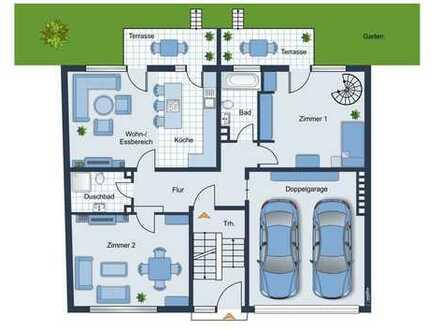 Frische und nach ihrem Wunsch sanierte EG-Wohnung auf 115,0 m² mit 2 Balkonen, Garten & Doppelgarage
