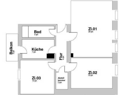 Großes Zimmer 28 qm in neu renoviertem Altbau