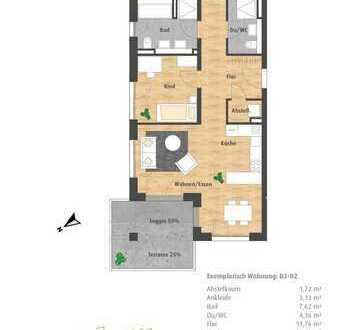 Neue 3-Zimmer-Erdgeschosswohnung mit Loggia und 2 Bädern im Hatz-Areal - Das Tor zur Innenstadt