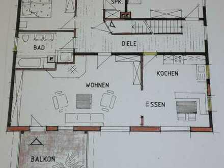 großzügige 3-Zimmer-Wohnung mit Balkon und Einbauküche in Obersontheim-Hausen