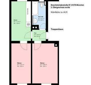 *2 Zimmer*möbliert*Wohnküche mit EBK*Bad mit Wanne*Keller*Parkett*