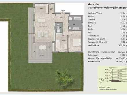 Rarität: Exklusive, neuwertige 3,5-Zimmer-Wohnung mit großem Garten, Loggia & Einbauküche von Privat