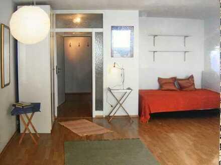 Helle, möblierte und gepflegte 1-Zimmer-Wohnung mit Balkon und EBK in Aubing, München