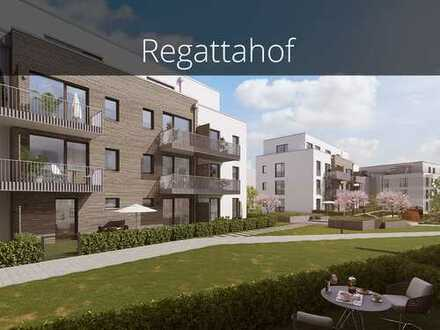 Glücklich wohnen im Regattahof! Provisionsfreie 2-Zimmer-Gartenwohnung mit sonniger Terrasse