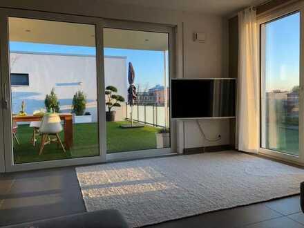 Luxus 4 Zi-Penthouse-Wohnung mit 75 m² Dachterrasse und Parkblick - Innenstadt/Prinz-Karl-Viertel